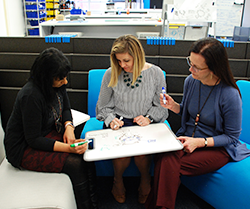 Three women sitting on chairs using a lap whiteboard